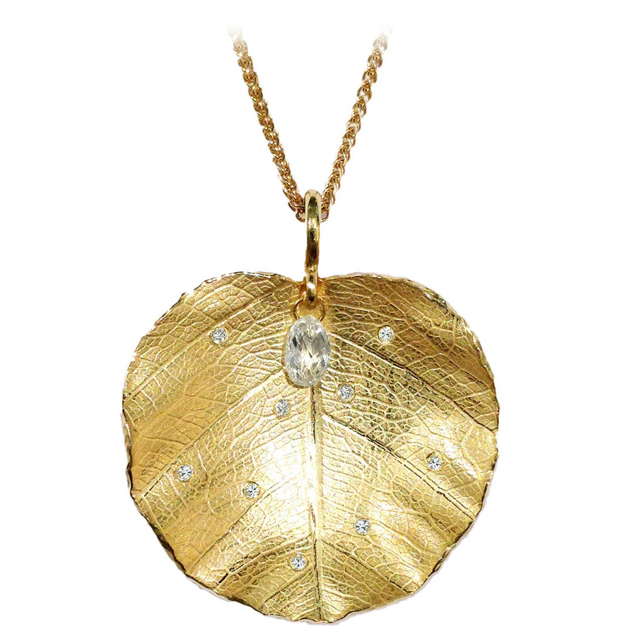 Barbara Heinrich Dangling White Diamond Briolette Lotus Leaf Drop Necklace For Sale