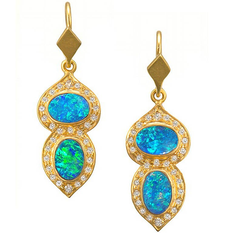 Boulder Opal Diamond Gold Drop Earrings At 1stdibs