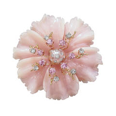Russell Trusso Peruvian Pink Opal Pink Sapphire Diamond Gold Brooch Pendant