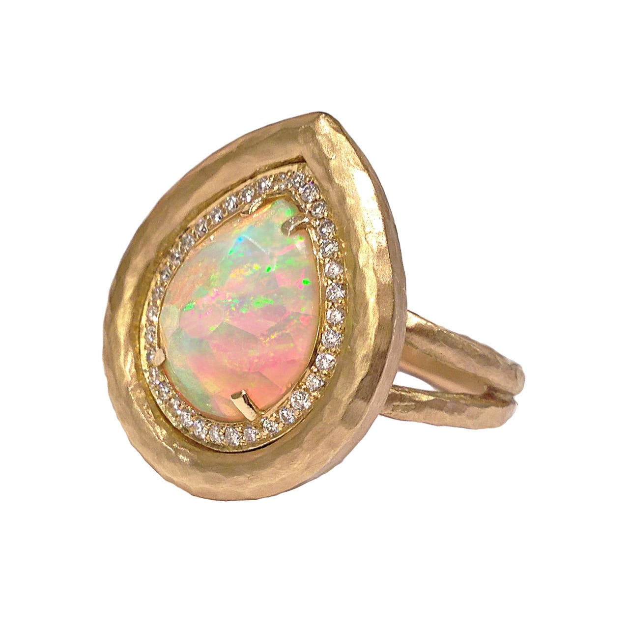 Pamela Froman Faceted Fiery Ethiopian Opal Diamond Crushed Gold Ring at 1stdibs
