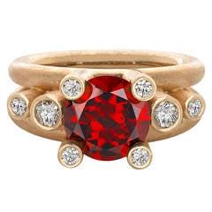 Extraordinary Garnet Diamond Matte Gold Double Shank Ring