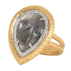 Rutilated Quartz Diamond Crushed Gold Platinum Empress Ring