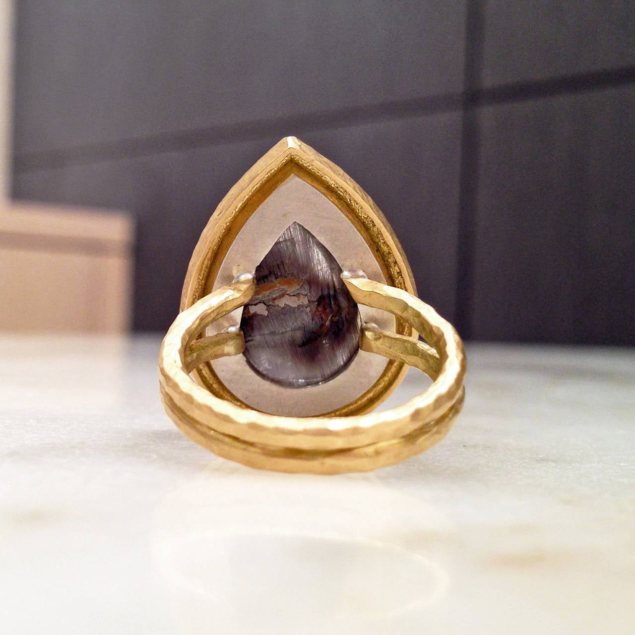 Rutilated Quartz Diamond Crushed Gold Platinum Empress Ring at 1stdibs
