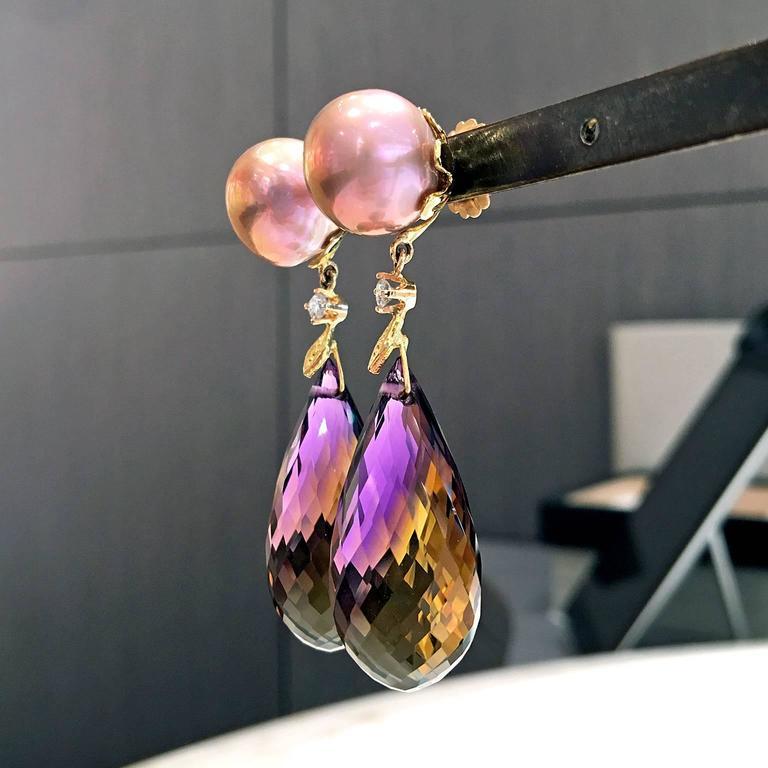 Trusso Faceted Ametrine Drop Maurasaki Pearl White Diamond Dangle Earrings 4