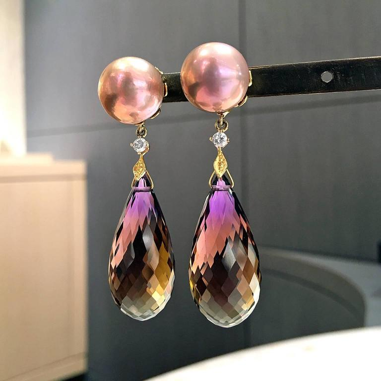 Trusso Faceted Ametrine Drop Maurasaki Pearl White Diamond Dangle Earrings 3