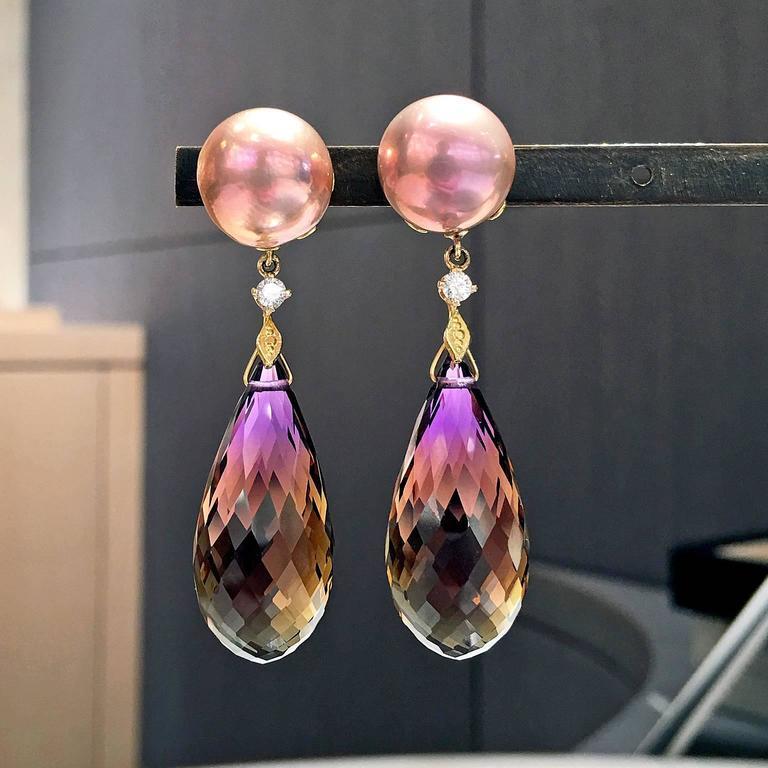 Trusso Faceted Ametrine Drop Maurasaki Pearl White Diamond Dangle Earrings 2