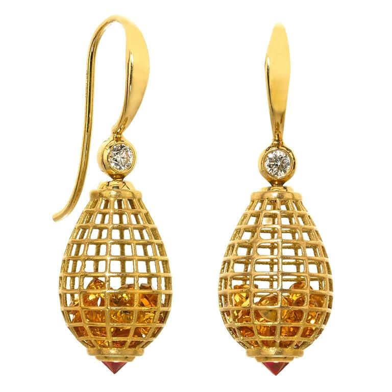 Roule and Co Honey Citrine Inverted Ruby Diamond Gold Shaker