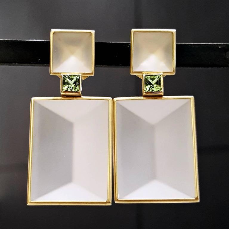 Antonio Bernardo Custom Cut Phantom Quartz Peridot Matte Gold Drop Earrings 2