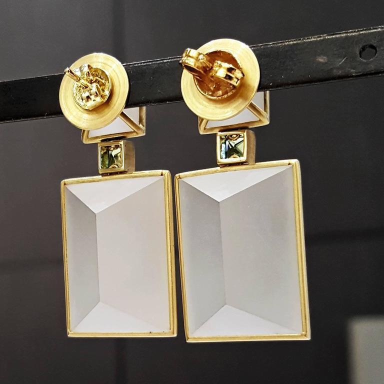 Antonio Bernardo Custom Cut Phantom Quartz Peridot Matte Gold Drop Earrings 3