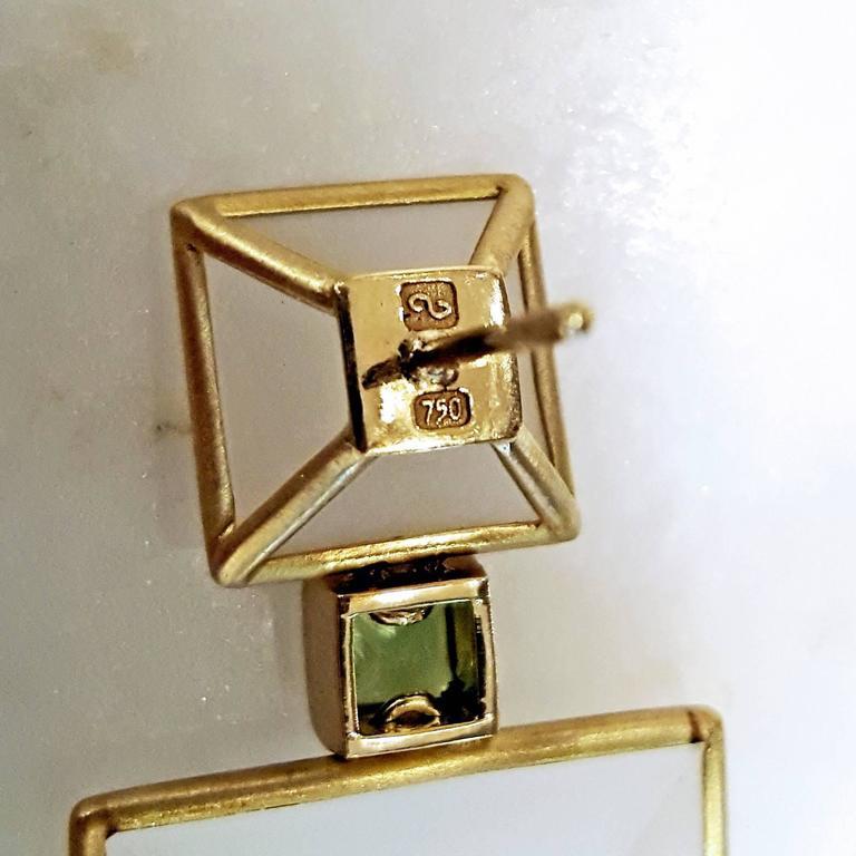 Antonio Bernardo Custom Cut Phantom Quartz Peridot Matte Gold Drop Earrings 4