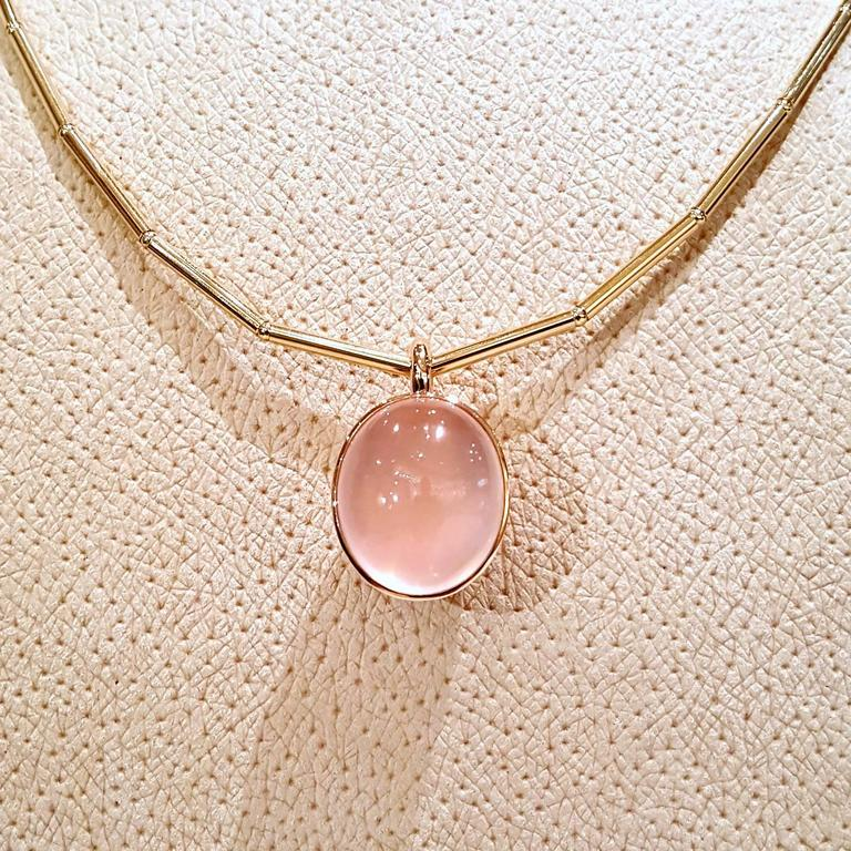Glowing 20 Carat Rose Quartz Cabochon Gold Bowl Pendant Necklace 3