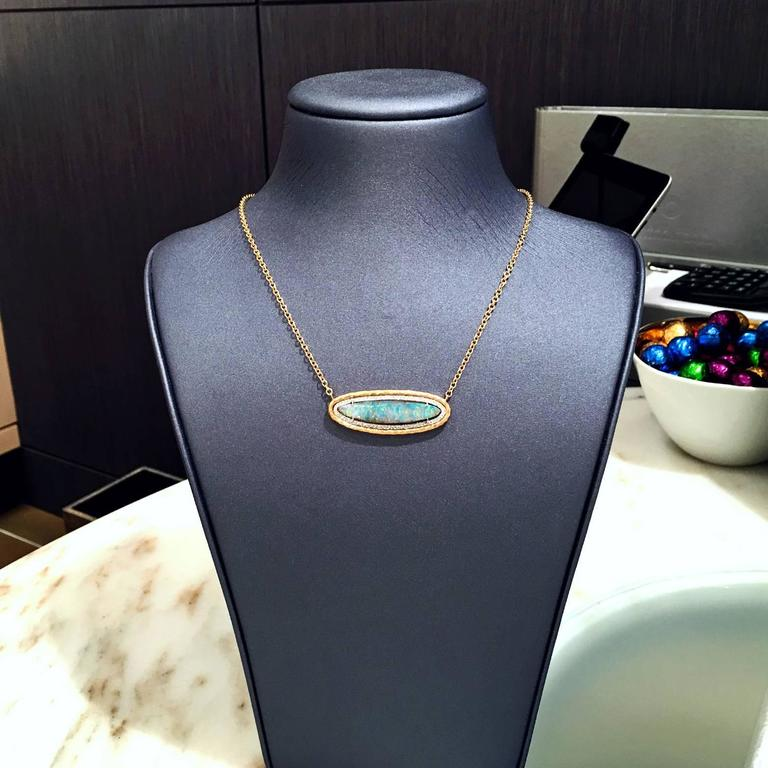 Women's Pamela Froman Color Change Rainbow Opal Pave Diamond Gold Multilength Necklace For Sale