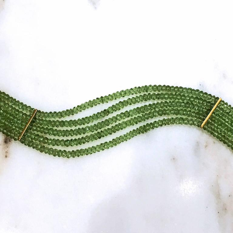 Eva Steinberg Germany Green Peridot Diamond Multistrand Artisan Bracelet In As New Condition For Sale In Dallas, TX