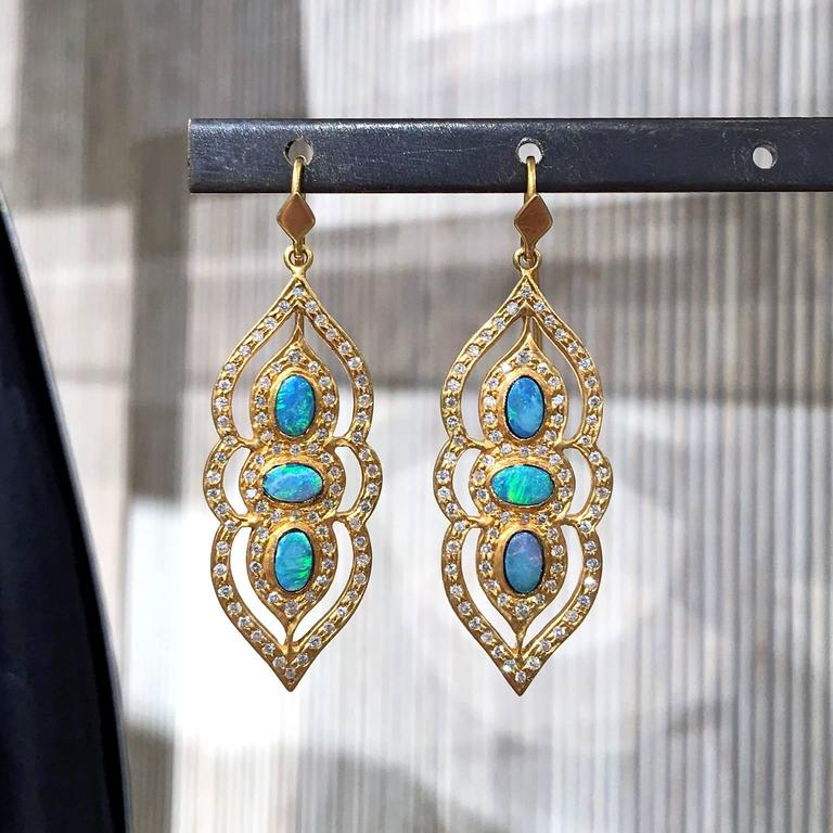 Artist Lauren Harper Boulder Opal White Diamond One of a Kind Arabesque Drop Earrings For Sale