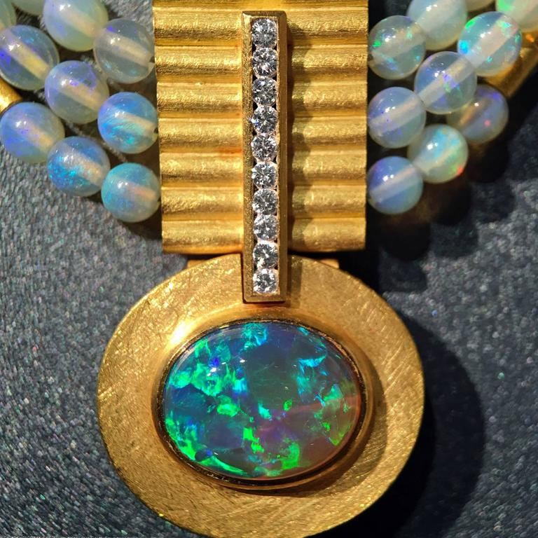 Lightning Ridge Black Opal Diamond Australian Opal Sphere 21k Gold Necklace In New Condition For Sale In Dallas, TX