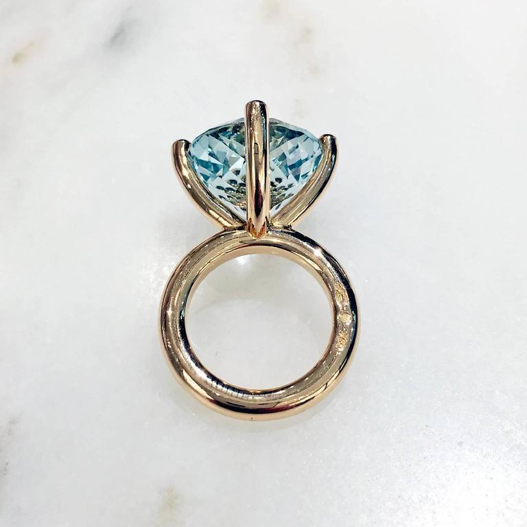 Women's Erich Zimmermann Custom Cut Pale Blue White Topaz Gold Solitaire Princess Ring For Sale