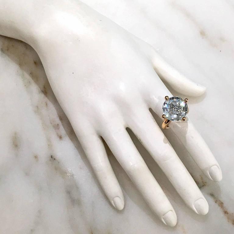 Modern Erich Zimmermann Custom Cut Pale Blue White Topaz Gold Solitaire Princess Ring For Sale