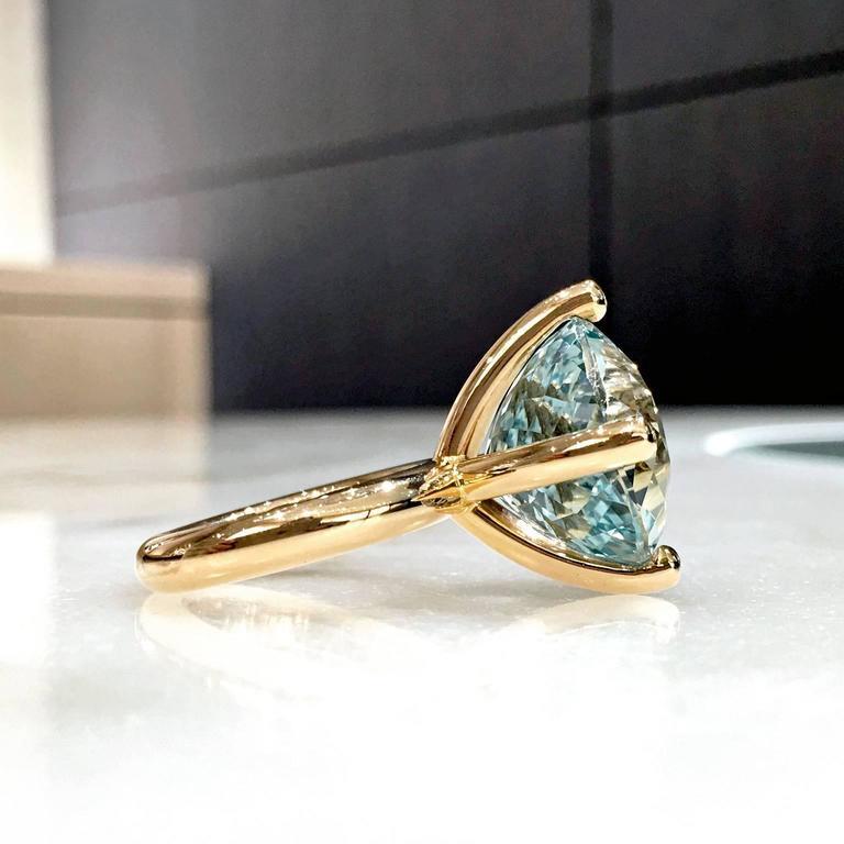 Erich Zimmermann Custom Cut Pale Blue White Topaz Gold Solitaire Princess Ring For Sale 1