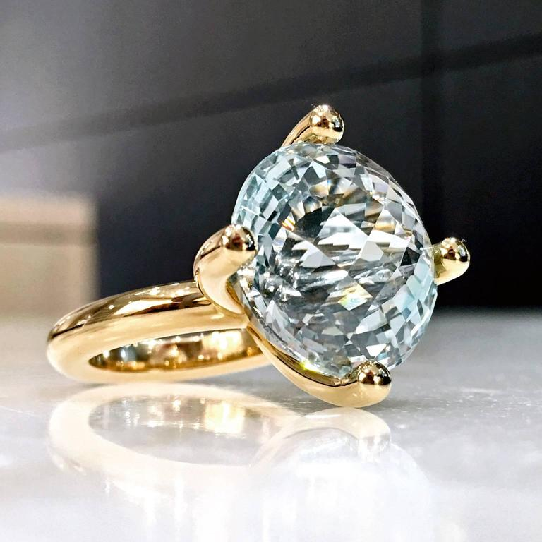 One-of-a-Kind Princess Ring handcrafted by German master metalsmith Erich Zimmermann in polished 18k rose gold showcasing a prong-set brilliant 17mm custom checker-cut and pale blue topaz with beautiful dimension. Size 6.5 (can be sized). Stamped