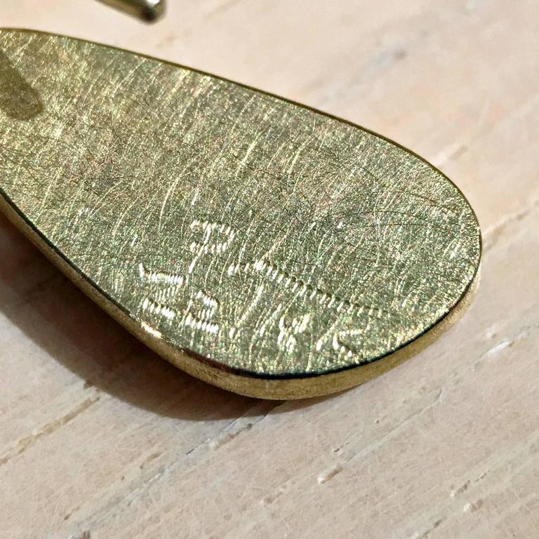 Petra Class Blue Green Australian Opal Gold Doublet Handmade Dangle Drop Earring 6