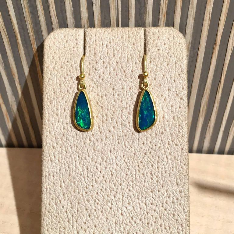 Artisan Petra Class Blue Green Australian Opal Gold Doublet Handmade Dangle Drop Earring For Sale