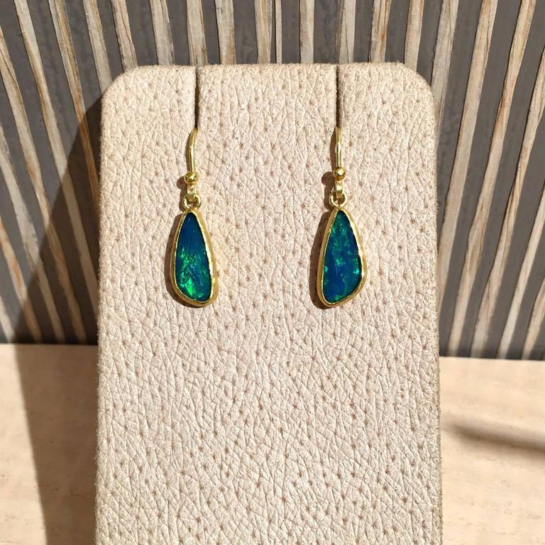 Petra Class Blue Green Australian Opal Gold Doublet Handmade Dangle Drop Earring 3