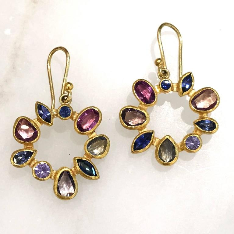 Artist Petra Class Multicolored Montana Sapphire Gold Radial Drop Earrings For Sale