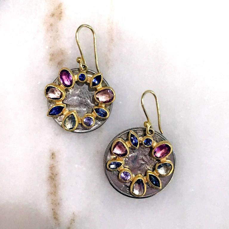 Women's Petra Class Multicolored Montana Sapphire Gold Radial Drop Earrings For Sale