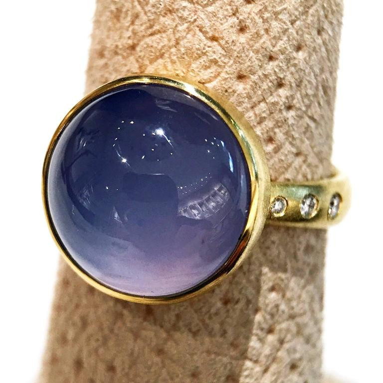 Women's Robin Waynee Glowing Blue Violet Chalcedony White Diamond Gold Handmade Ring For Sale