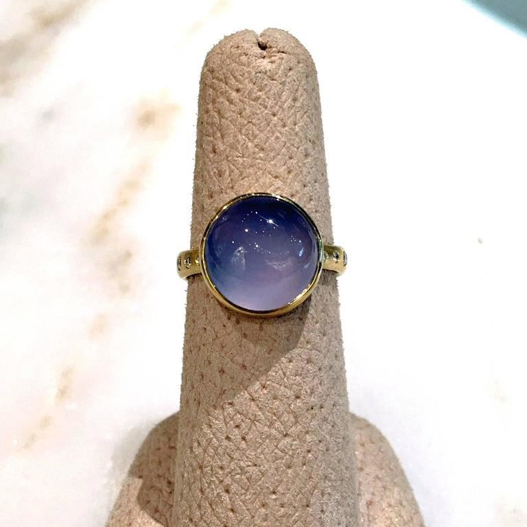 Robin Waynee Glowing Blue Violet Chalcedony White Diamond Gold Handmade Ring For Sale 1