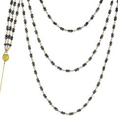 Shimmering Pyrite Gold Triple Strand 34 Inch Long Necklace