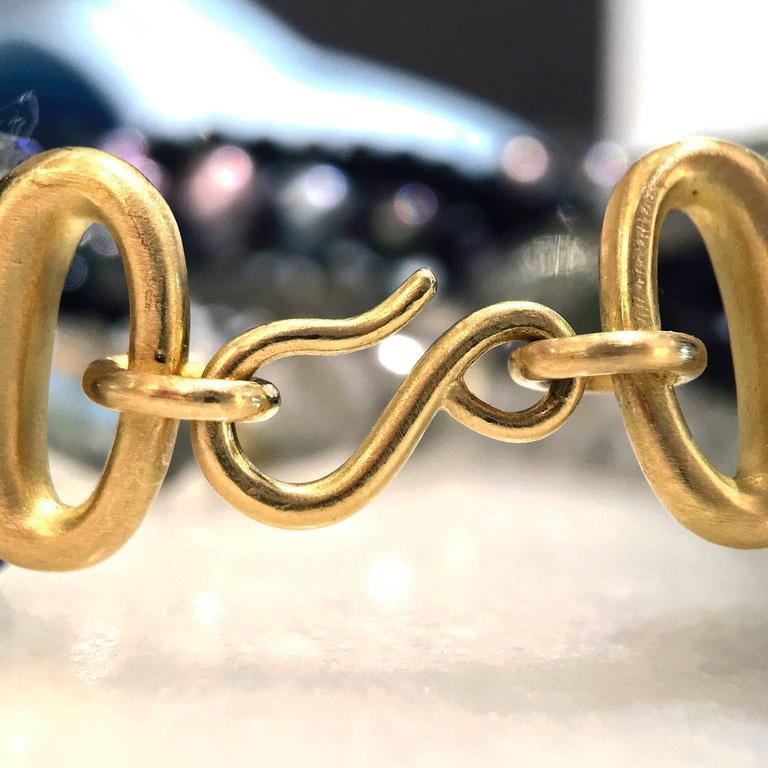 Antonio Bernardo Moonstone Labradorite Spinel Pearl Matte Gold Mix Bracelet In New Condition For Sale In Dallas, TX