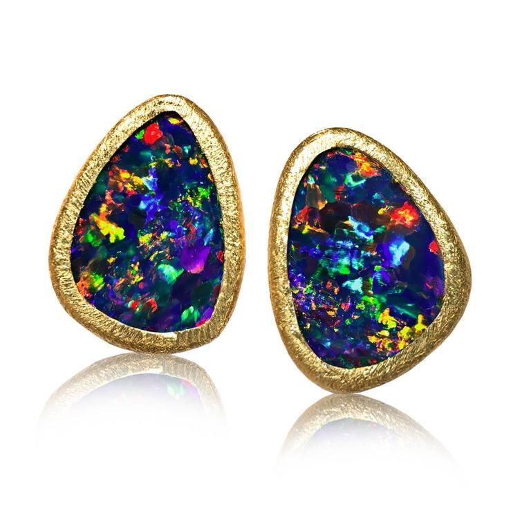 Devta Doolan Vibrant Red Fire Blue Violet Opal Doublet Gold Stud Earrings 6