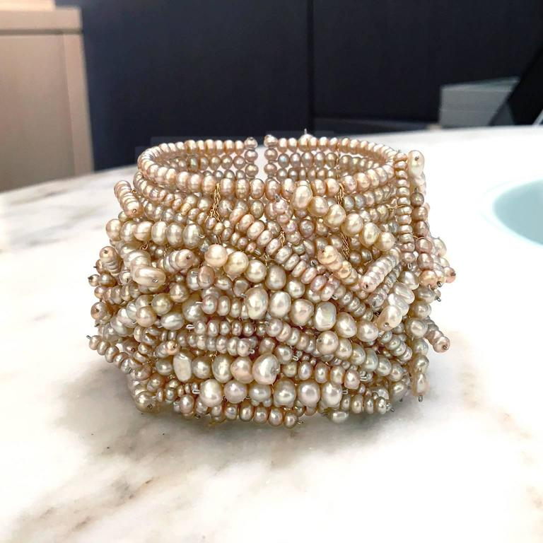 Champagne Pearl Flexible Chaos Cuff Bracelet At 1stdibs