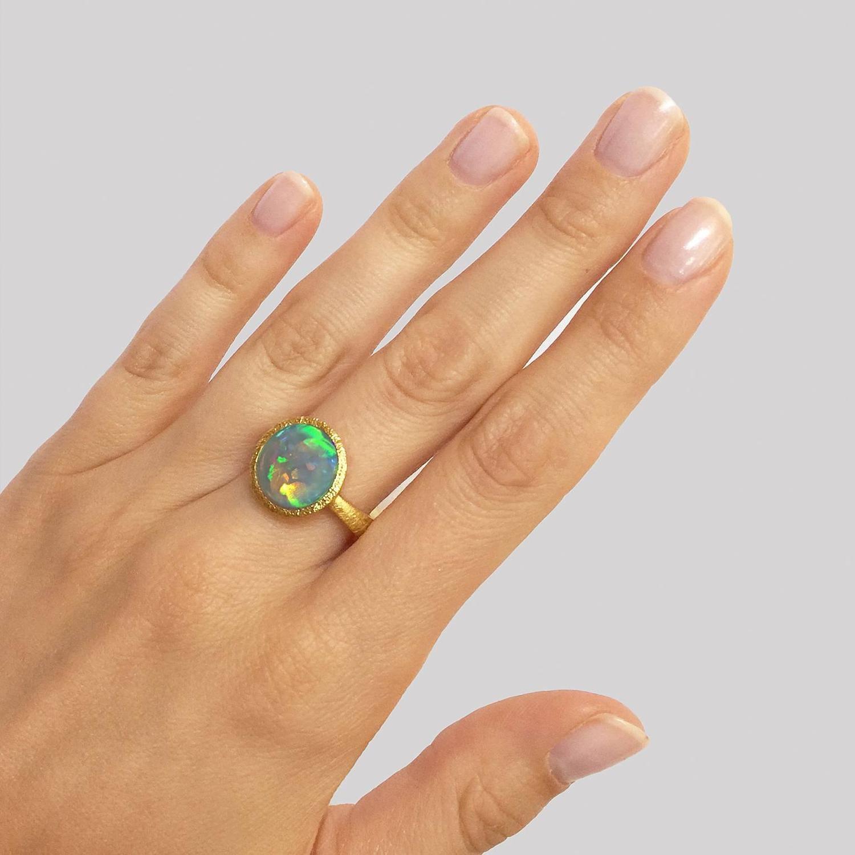 Lightning Ridge Black Opal Ring For Sale