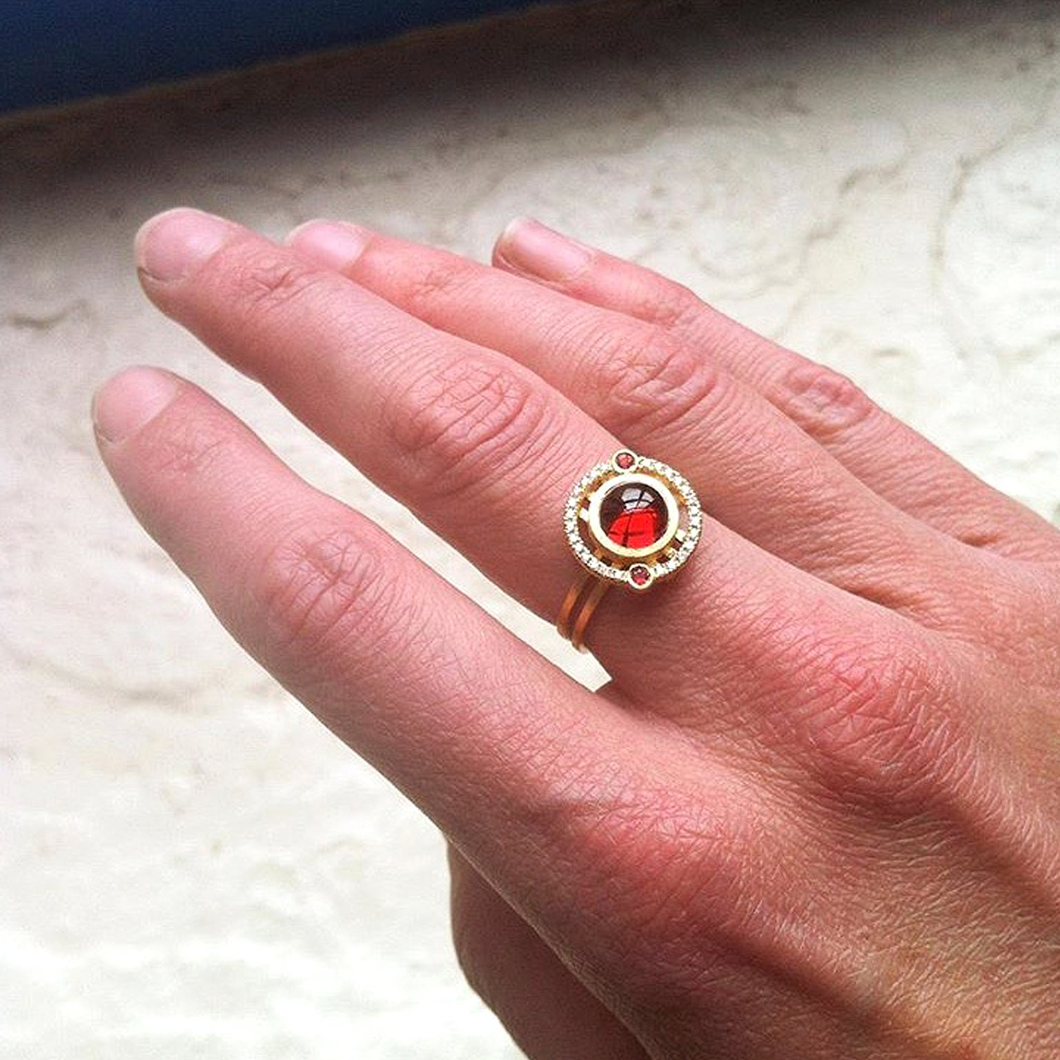 Red Garnet Orange Sapphire Diamond Reflective Gold Handmade Nova ...