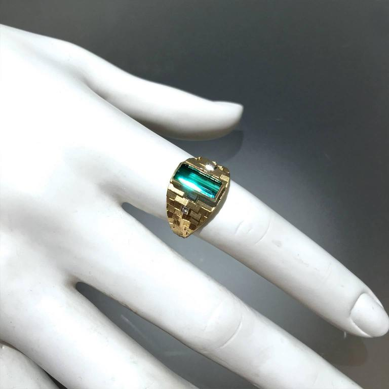 Art Deco Jo Hayes Ward One of a Kind Green Tourmaline Diamond Reflective Gold Ring For Sale