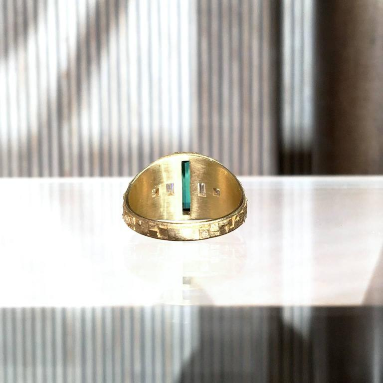 Women's Jo Hayes Ward One of a Kind Green Tourmaline Diamond Reflective Gold Ring For Sale
