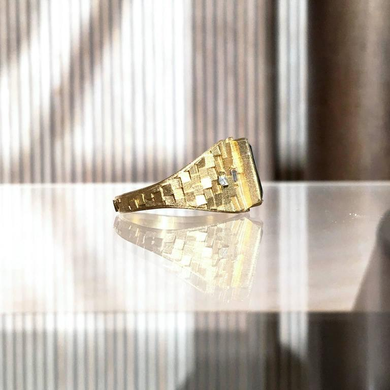 Baguette Cut Jo Hayes Ward One of a Kind Green Tourmaline Diamond Reflective Gold Ring For Sale