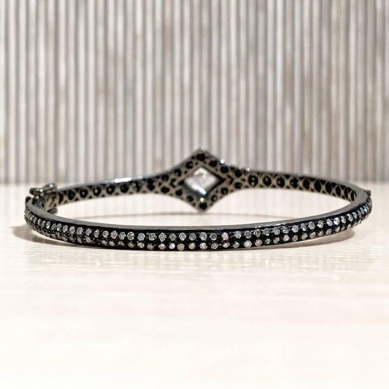 Lauren Harper Rock Crystal Prism Diamond Eternity Hinged Cuff Bracelet For Sale 1