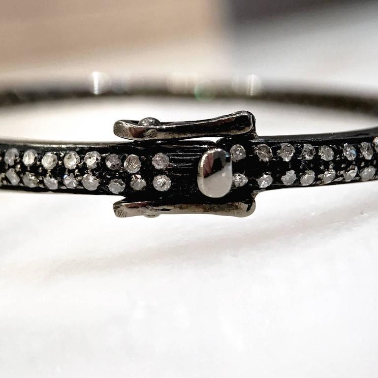 Lauren Harper Rock Crystal Prism Diamond Eternity Hinged Cuff Bracelet For Sale 2
