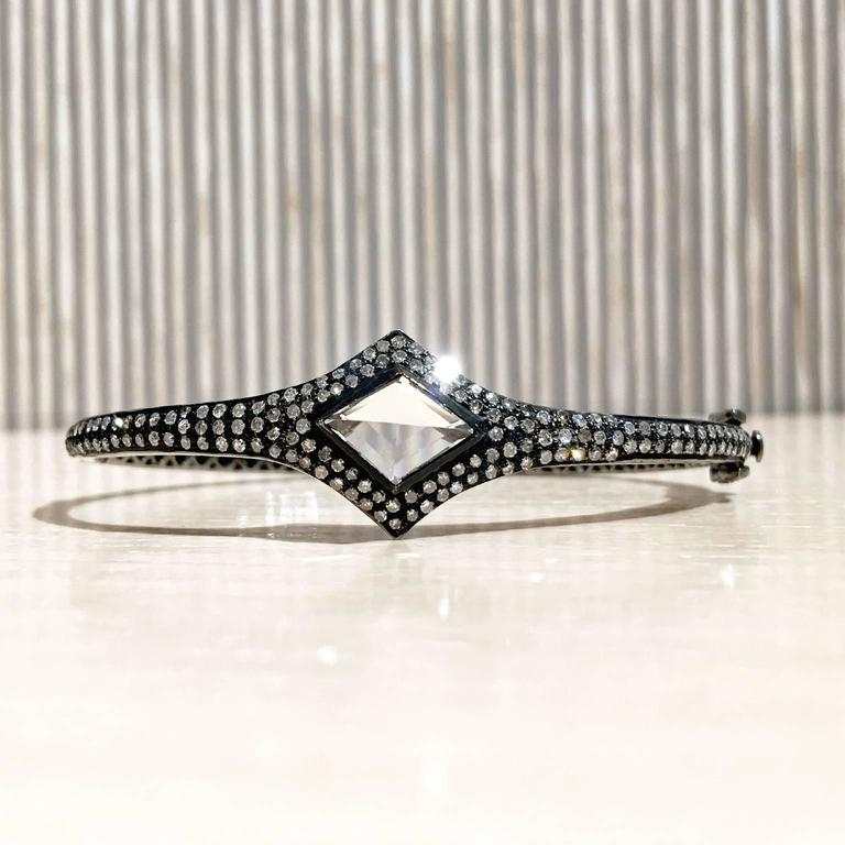Lauren Harper Rock Crystal Prism Diamond Eternity Hinged Cuff Bracelet In As new Condition For Sale In Dallas, TX