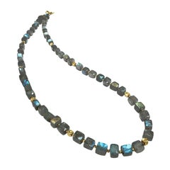 Barbara Heinrich Glowing Labradorite Cubes Handmade Gold Necklace