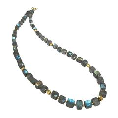 Barbara Heinrich Colorful Labradorite Cube Handmade Gold Spacer Necklace