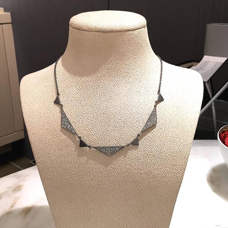 Lauren Harper 1.92 Carat White Diamond Matte Oxidized Silver Trinity Necklace In New Condition For Sale In Dallas, TX