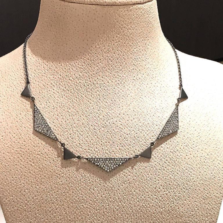 Modern Lauren Harper 1.92 Carat White Diamond Matte Oxidized Silver Trinity Necklace For Sale
