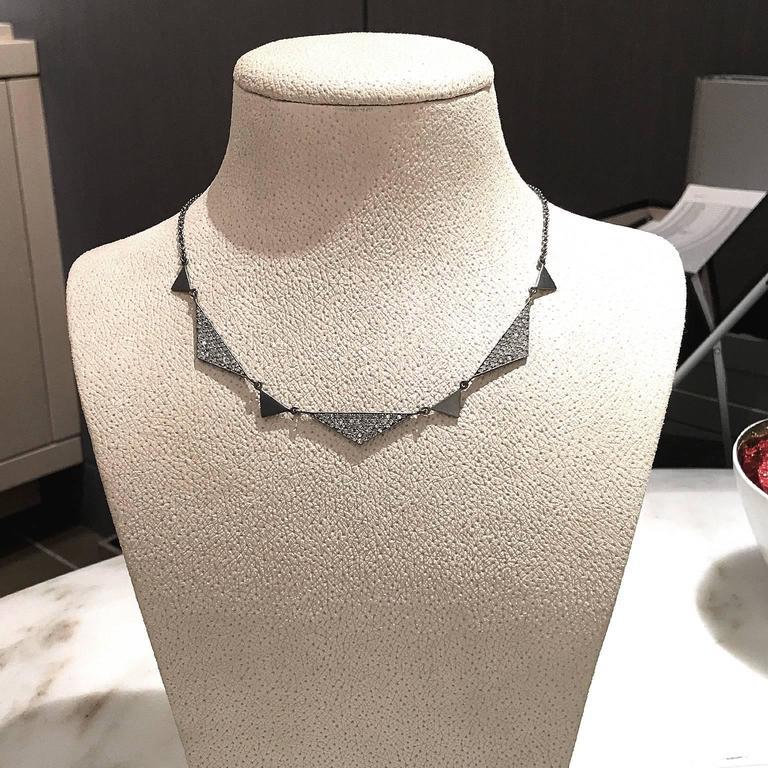 Women's Lauren Harper 1.92 Carat White Diamond Matte Oxidized Silver Trinity Necklace For Sale