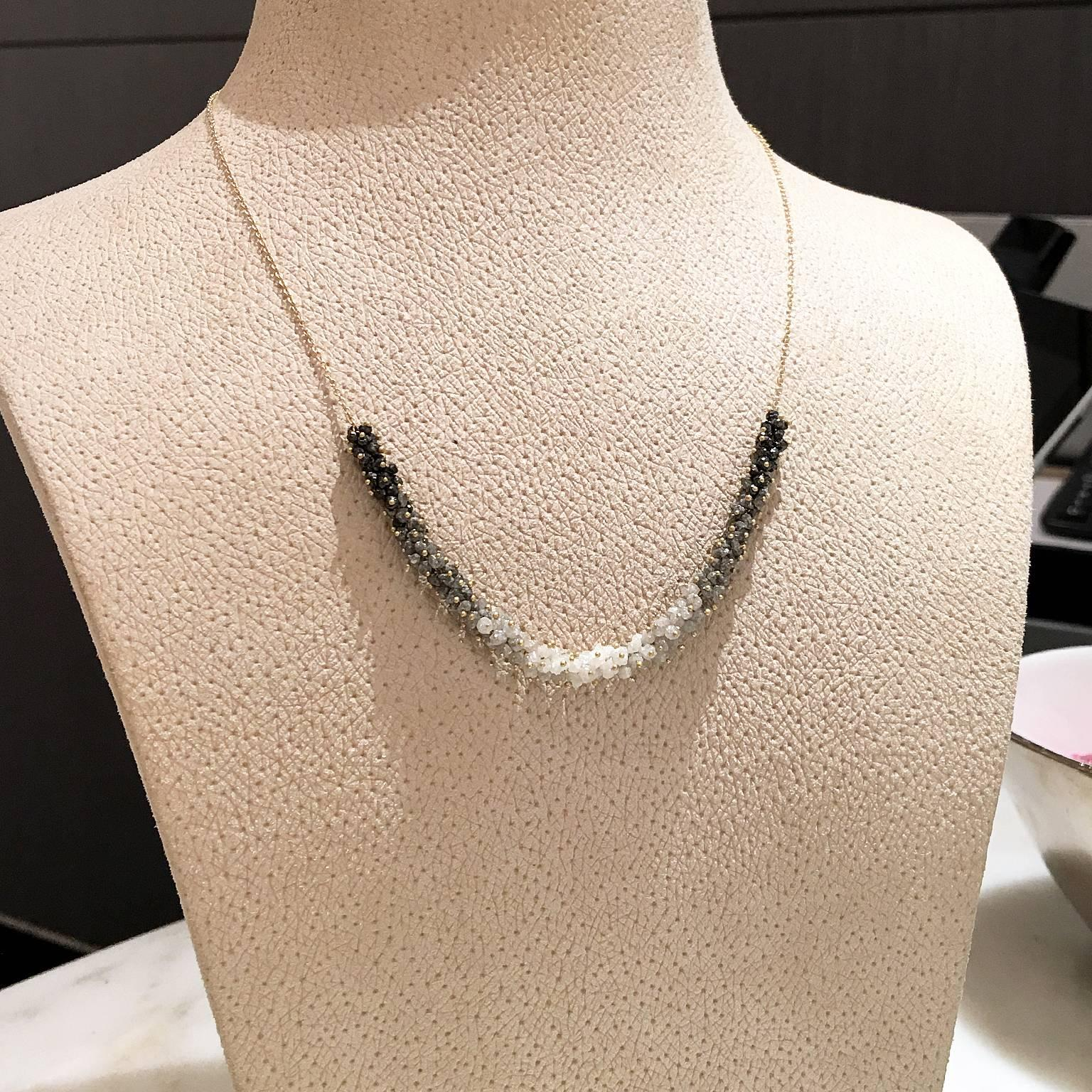 130f0f38e Rebecca Overmann Intricate 15 Carat White Gray Black Diamond Gold Ombre  Necklace For Sale at 1stdibs