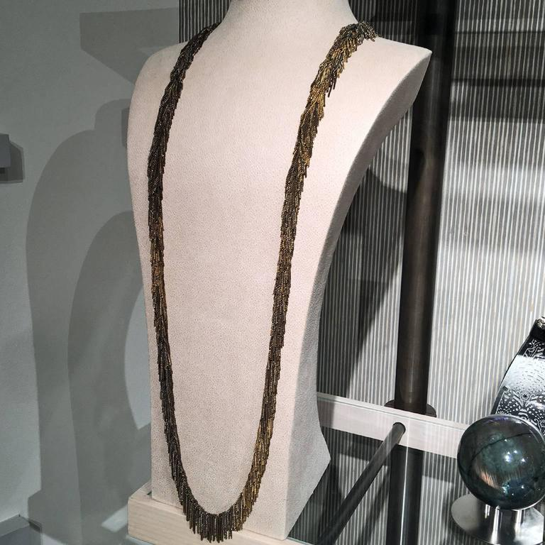 Jessica Rose Multicolored Vermeil Chain Handmade Waterfall Fringe Necklace In New Condition For Sale In Dallas, TX