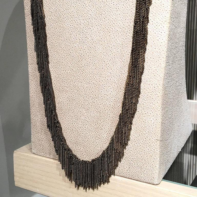 Jessica Rose Multicolored Vermeil Chain Handmade Waterfall Fringe Necklace For Sale 2